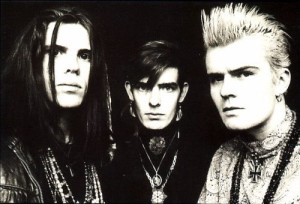 The Cult Love insert photo: Ian Astbury, Jamie Stewart and Billy Duffy